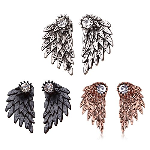 La Angels Jacket - MengPa Cute Gothic Angel Wing Stud Earrings Ear Jacket for Women Unique (Antique Silver+Black+Copper)