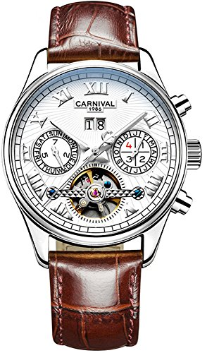 que Complications Calendar Analog Automatic Mechanical Leather Band Watches for Men (White) ()