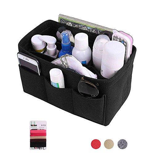 Felt Insert Purse Organizer, Multi Pocket Bag in Bag Organizer For Tote & Handbag Shaper 3 Color,3 Size Medium Large Extra Large (XL, (Tote Black Fabric Handbags)