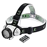 #6: LE Headlamp LED, 4 Modes Headlight, Battery Powered Helmet Light for Camping, Running, Hiking and Reading, 3 AAA Batteries Included