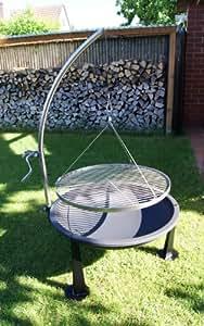 Moritz 65 cm redonda giratoria con trípode de acero inoxidable barbacoa parrilla y fuego Bowl restaurados