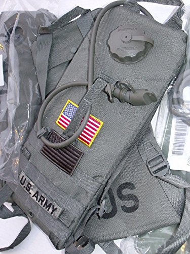 NEW US Army Military GI USGI Tactical USMC MOLLE II Rifleman Foliage Green ACU Grey 3L 100oz Hydramax HYDRATION System CARRIER + BLADDER Water Pack + PATCHES SET (Hydration Carrier + Bladder) ()