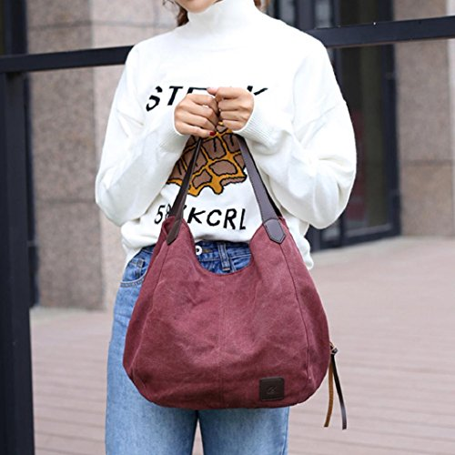 Shoulder Handbags Hobos Canvas Messenger Women's Gray ShenPr Solid Purple Female Vintage Single Casual Bags WqIw6pz