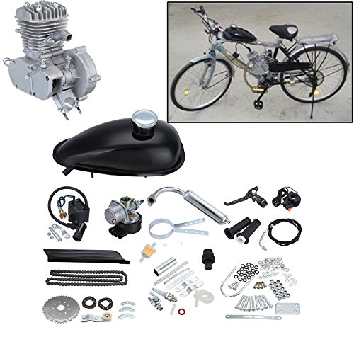 """Price comparison product image Ambienceo 26"""" 28"""" Black 2 Stroke 50cc 80cc Cycle Bicycle Gas Motorized Gasoline Engine Motor Kit CDI Air Cooling For Mountain and Road Bike (50cc,  Silver)"""