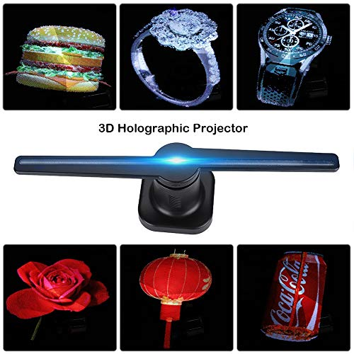 (3D Holographic Display LED Fan Exhibition Projector Custom Videos/Pictures Advertising Hologram Advertising Displayer + Card Reader Best for Store, Shop, Bar, Casino, Holiday Events Display Etc(Blue))