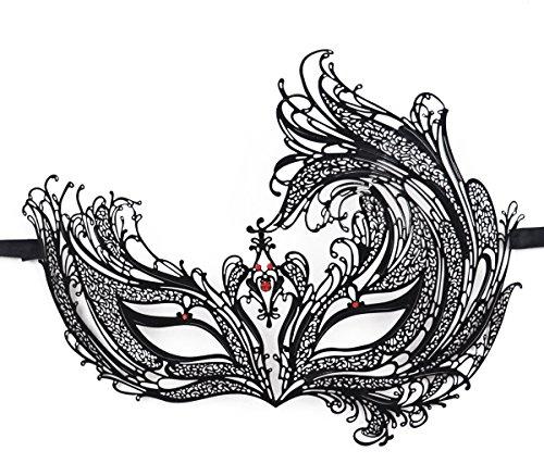 Women's Metal Filigree Laser Cut Venetian Masquerade Halloween Mask, Black w/Red Diamonds