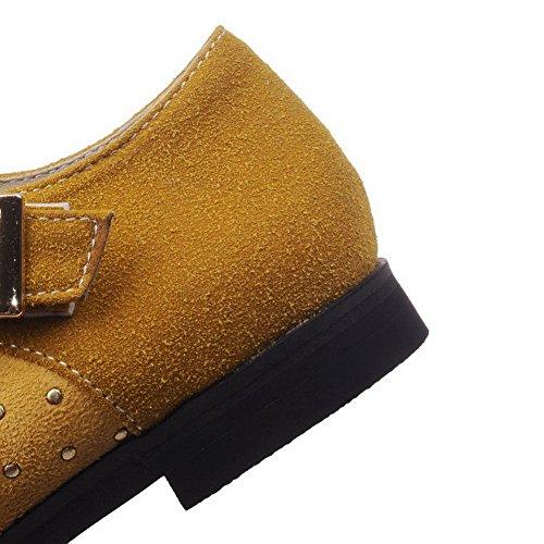 VogueZone009 Damen Schnalle Rund Zehe Ohne Absatz Gemischte Farbe Flache Schuhe Gelb