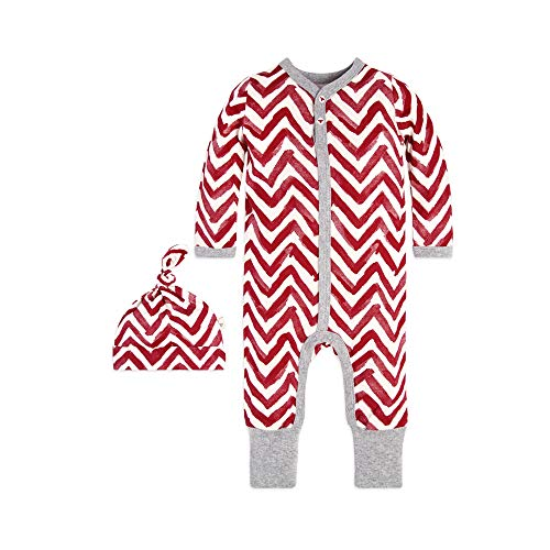 Burt's Bees Baby - Unisex Baby Romper and Hat Set, One Piece Jumpsuit and Beanie Set, 100% Organic Cotton, Cranberry Watercolor Chevron, 12 ()