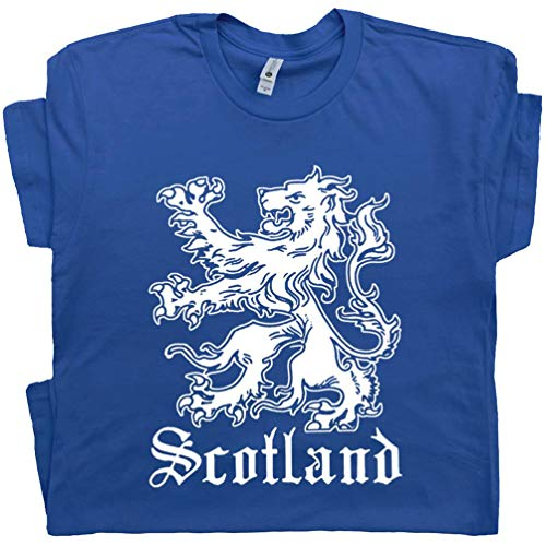 Youth M - Scotland T Shirt Scottish Flag Shirts Lion Logo Crest Ireland Soccer Cool for Mens Women Kids Tee Blue