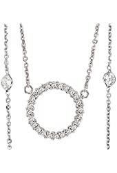 Beautiful 0.7ctw 14k White Gold Round Shape Diamond Pendant with Chain