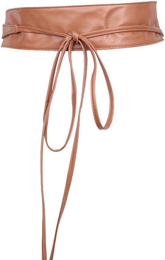 Quskto Cinturón de la Mujer Cinturón de Encaje de Piel sintética con Lazo de Piel sintética, Correa de Bohemia, Negro, Talla única Lleno de Textura (Color : Khaki)