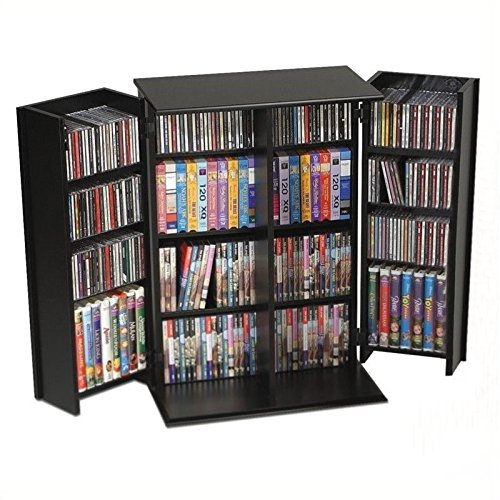 Bowery Hill 34'' Locking CD DVD Media Storage Cabinet in Black