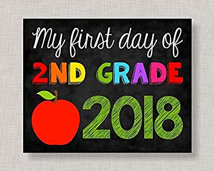 photo relating to First Day of 2nd Grade Printable Sign known as : WoodenSign 20x25cm To start with Working day of Moment Quality