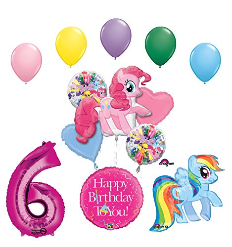 My Little Pony Pinkie Pie and Rainbow Dash 6th Birthday Party Supplies and Balloon Decorations