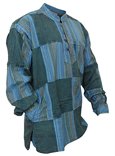 Mens Stonewashed Plain Stripe Patch Hippie Shirt (3XL,Turquoise)