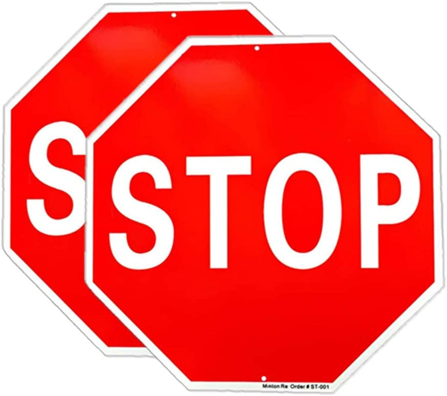 Stop Sign, (2 Pack) Street Traffic Warning Reflective Signs, 12