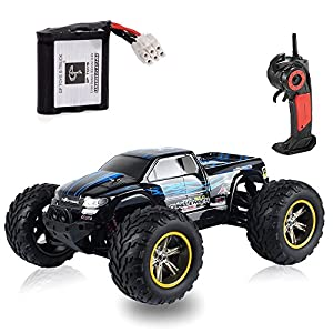 GPTOYS S911 33MPH 2.4GHz 2WD Off Road Waterproof Monster RC Truck, 1/12 Scale - Blue (3rd Version)