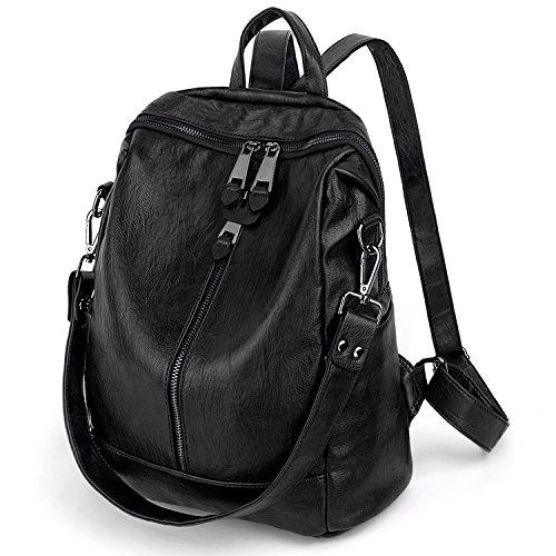 UTO Women Backpack Purse PU Washed Leather Convertible Ladies Rucksack Zipper Pockets Earphone Hole Shoulder Bag Black