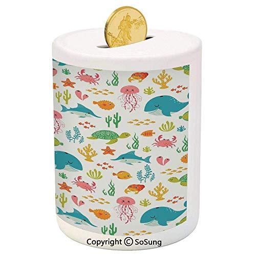 Cartoon Ceramic Piggy Bank,Underwater Animals Aqua Marine Life with Crabs Sea Stars Fish Illustration 3D Printed Ceramic Coin Bank Money Box for Kids & Adults,Teal Green Yellow ()