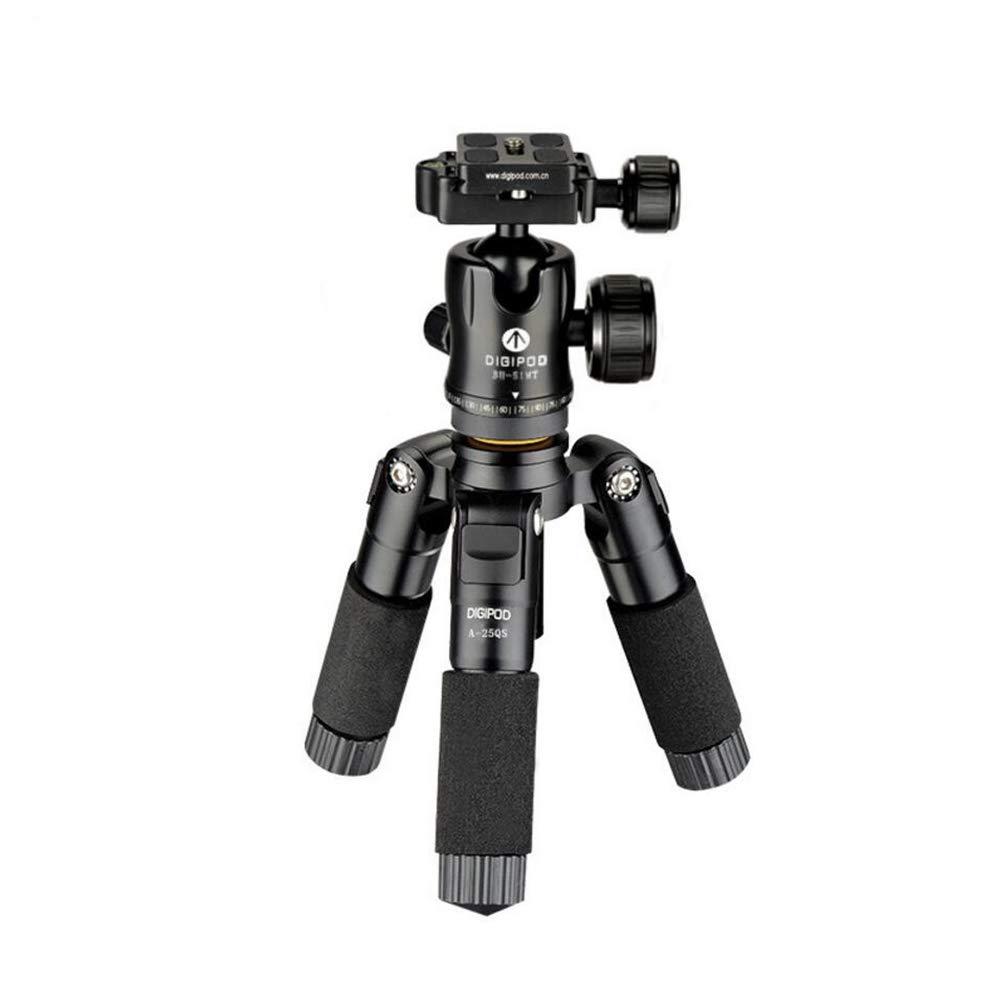 軽量アルミ合金カメラ三脚、ミニ三脚プロフェッショナルポータブルマイクロシングルキヤノンニコン一眼レフカメラ旅行ポケット三脚ロード最大10キロブラック   B07G62WXD2