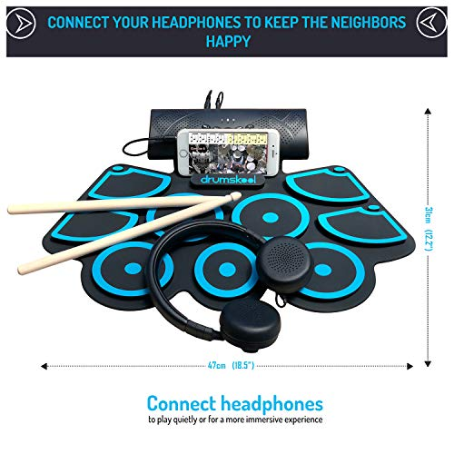 Drumskool Electronic Drum Set, MIDI Electric drum kit, Connect your phone to play along with included Drum Lessons, Speakers, Drum Pedals, Drum Sticks, 10 hours play time, Quickstart Guide by Drumskool (Image #2)