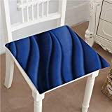 """Mikihome Squared Seat Cushion Wave Inspired Design with Reflection Dark Metallic Blue Garden Patio Home Kitchen Office Sofa Seat Pad 14""""x14""""x2pcs"""