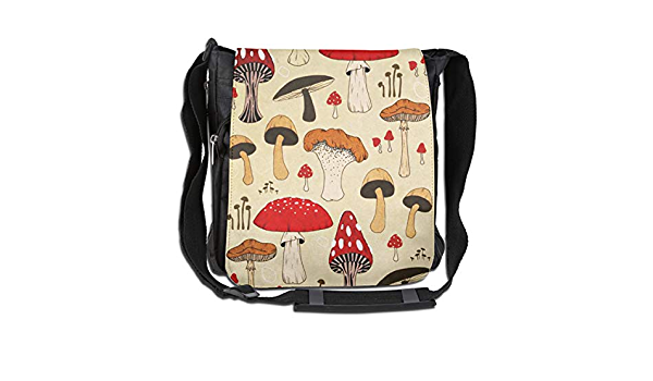 Cartoon Colourful Cep Mushroom Messenger Bag Crossbody Bag Large Durable Shoulder School Or Business Bag Oxford Fabric For Mens Womens