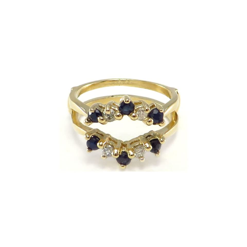 14k yellow gold Ring Wrap Guard Insert Enhancer with Sapphires & Diamonds