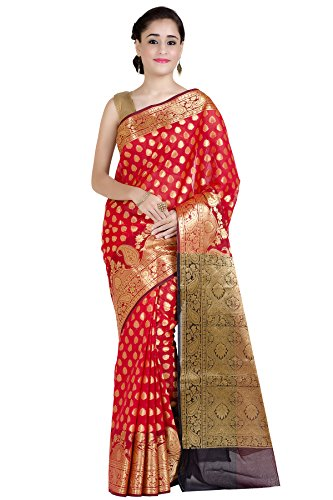Chandrakala Women's Red Cotton Silk Banarasi Saree (Red Saree)