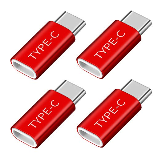 OneKer USB Type C Adapter, USB C to Micro USB Convert Connector Fast Charger Compatible Samsung Galaxy S10 S9 S8 Plus Note 9 8, Pixel 2 XL, LG V20 G5 G6, Nexus 5X 6P,HTC 10(Red 4-Pack) (Google Pixel 2 Xl Vs Nexus 6p)