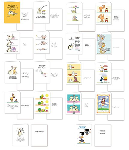 Assorted Funny Birthday Card Pack - 18 Cards & Envelopes ...