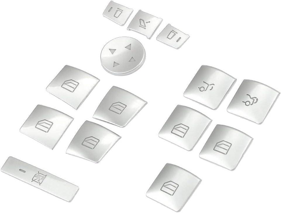 Fransande Innen T/üR Armlehne Fenster Schalter Knopf Verkleidung Aufkleber f/ür GLK ML GL EIN BCEG Klasse W204 W212 W246 W166 X166
