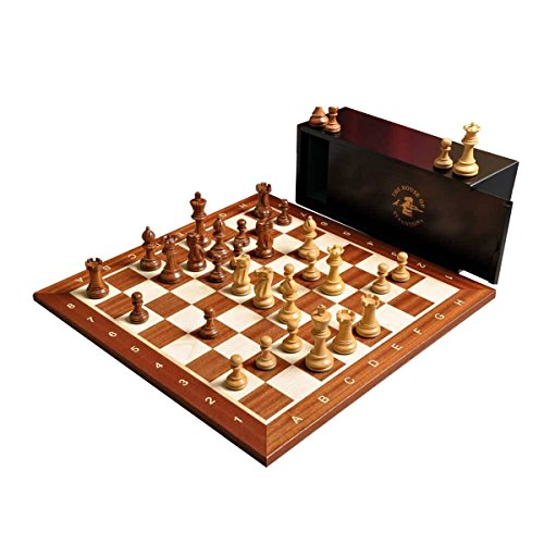 The Library Grandmaster Chess Set, Box, and Board Combination - Golden Rosewood and Boxwood