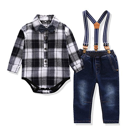 (Baby Boys 4 Pieces Clothes Set Bowtie Plaid Shirt Jeans Strap 2 Colors (9M,)