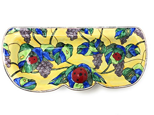 (Kelvin Chen - Ladybug and Grapevine - Enameled Eyeglass Holder/Tray, 6.75 Inches Wide)