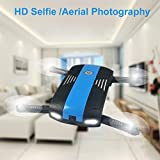 Tiean 2.4G 6-Axis Altitude Hold HD Camera WIFI FPV RC Quadcopter Drone Selfie Foldabl (Blue)