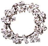 Red Co. Farmhouse Full White Fluffy Cotton Wreath - Home Decor for Front Door - 20 Inches