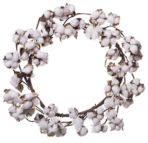 White Artificial Wreath - Farmhouse Full White Fluffy Cotton Boll Wreath Stem Branches - Welcome Home Decor Floral Artificial Wreath Bouquet for Front Door, Wall, Hallway & Entryway - 20-26 Inches
