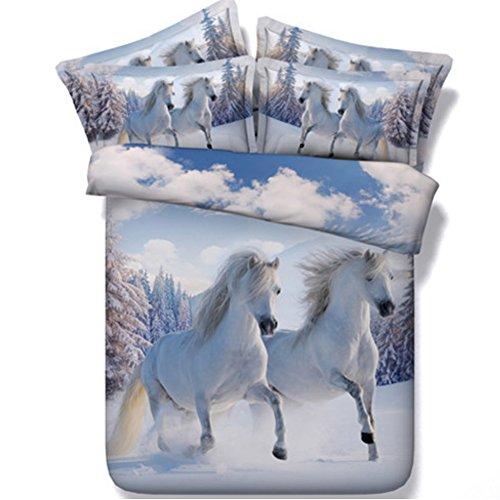 Alicemall 3D Horse Bedding Comforter Set White Snow Horse Digital Printing 5 Pieces Comforter Set Digital Bedding Set, Queen Size (2 Pillowcases, Flat Sheet, Comforter, Duvet Cover) (Queen, White) by Alicemall (Image #2)
