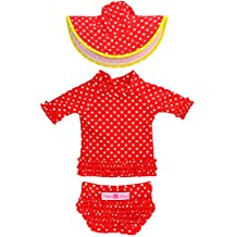 RuffleButts Infant / Toddler Girls Red Polka Dot Ruffled Rash Guard & Hat Set