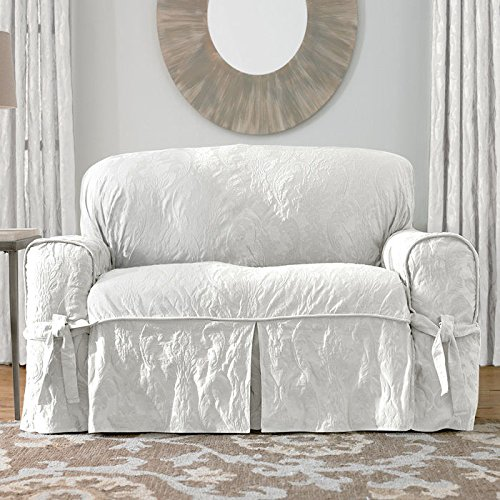 Sure Fit Matelasse Damask 1-Pc Loveseat-White