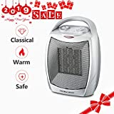 Warmtec 1500W Ceramic Space Heater with Carry Handle Adjustable Thermostat Electric Desk Heater Fan (Silver)