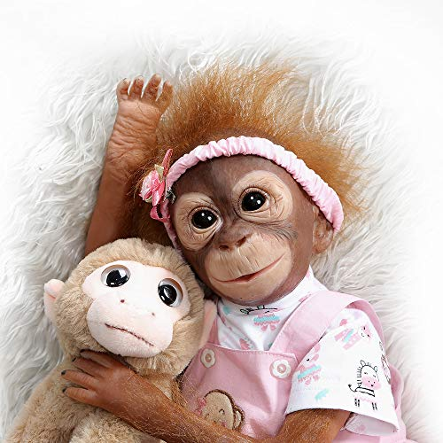 Pinky New 21INCH 52CM Handmade Detailed Paint Reborn Baby Monkey Newborn Doll Collectible Art Doll Toy for Kid Gift (Pink)