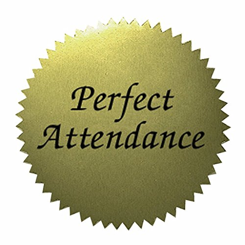 "Self-Adhesive 2"" Gold Certificate Seals - Perfect Attendance - 400 total!"