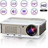 LED LCD Projector HD Portable 2600 Lumens Multimedia Home Video Projector Movie Theater Gaming System Suport 1080p HDMI USB VGA AV for iPhone Laptop iPad DVD TV XBOX PS4 Art Drawing Outdoor Movies