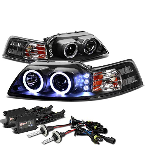 (For Ford Mustang SN-95 Dual Halo Projector+LED Headlight+10,000K H1 HIDs+Slim Ballasts (Black Housing Amber Reflector))