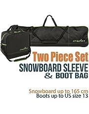 Athletico Snowboard de Dos Piezas y Arranque Bolsa Combo | almacenar y Transporte Snowboard hasta 165cm y Botas hasta la Talla 12,5| Incluye 1Bolsa para Tabla de Snowboard y 1Bolsa para Botas