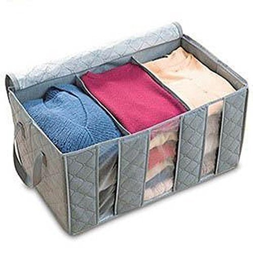 Leshery 65L 60*35*30cm Foldable Storage Bag Clothes Blanket Closet Sweater Organizer Box Charcoal