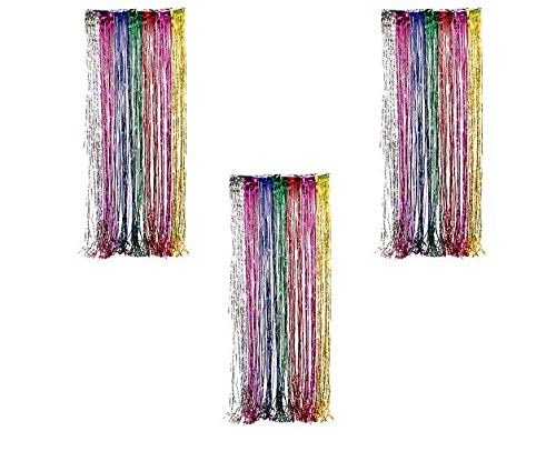 (Ifavor123 Decorative Tinsel Foil Metallic Fringe Party Door Window Curtains - 3 Feet Wide X 8 Feet Long (3 Pack, Rainbow))
