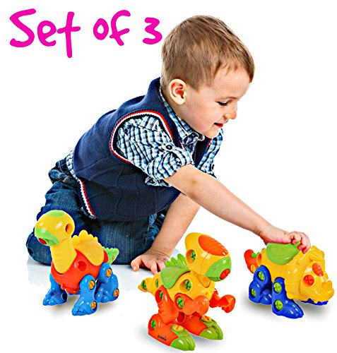 51V8hHyQnxL - Dinosaur Take Apart Toy Set for Kids by Dimple - Premium Pack of 3 Educational Build Your Own Dino Toys, (106 Pieces) Top Construction Toy for Boys Girls & Toddlers, Great for Children